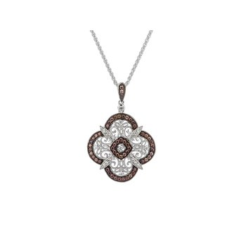 S/sil Rhodium + CZ Night & Day Scalloped Pendant Necklace