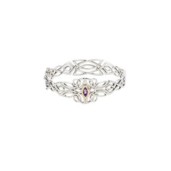 S/sil + 10k Amethyst Guardian Angel Bangle