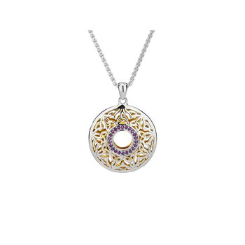 S/sil + 22k Gilded Window to the Soul Amethyst Round Pendant Necklace