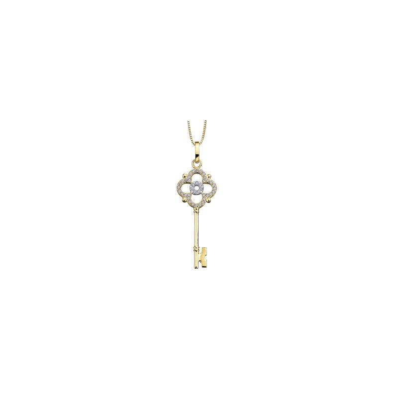 Corona 10K Yellow Gold Key to My Heart Diamonds Necklace