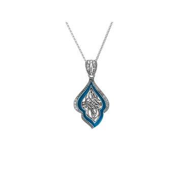 S/sil Sky Blue Enamel CZ Pendant Necklace