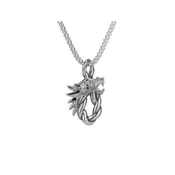 S/sil Oval Dragon Head Pendant Necklace