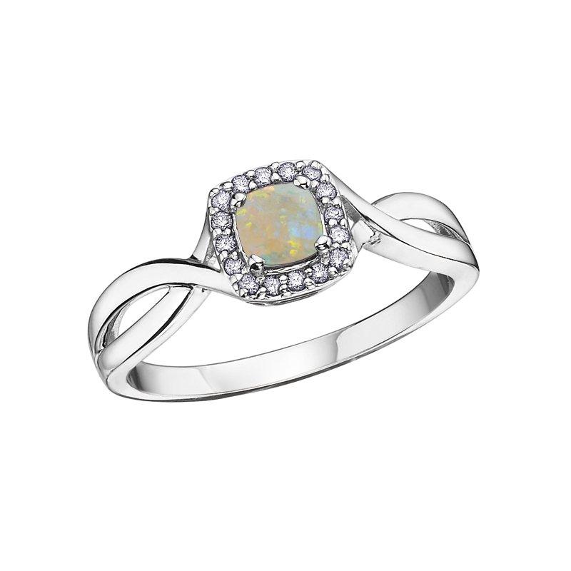 Corona Birthstone & Diamond Ladies Ring