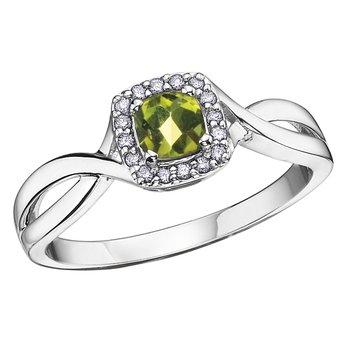 Birthstone & Diamond Ladies Ring