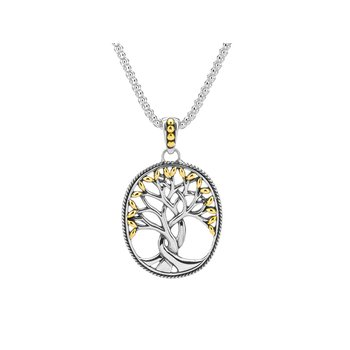 S/sil + 18k Yellog Gold Tree of Life Pendant Necklace
