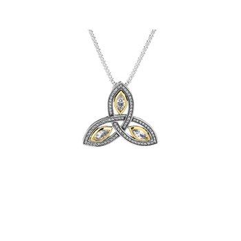 S/sil + 10k Trinity CZ Large Pendant Necklace
