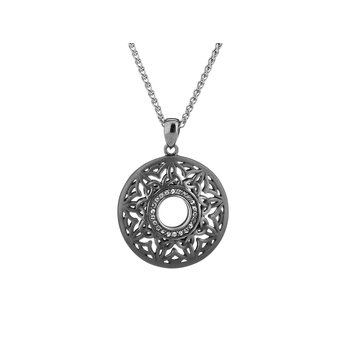 S/sil Ruthenium Window to the Soul White Topaz Round Pendant Necklace