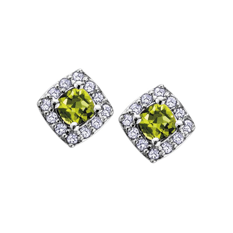 Corona Birthstone & Diamond Earrings