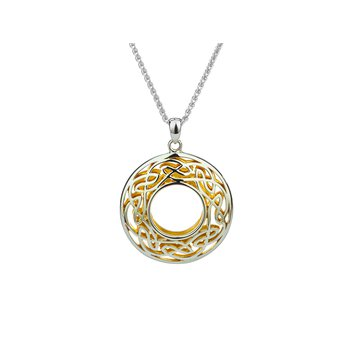 S/sil + 22k Gilded Window to the Soul Large Round Pendant Necklace