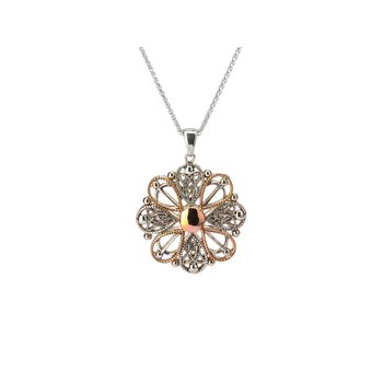 S/sil + 10k Rose Ashen Rose Angel Small Pendant Necklace