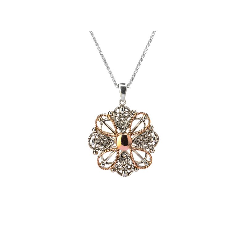 Keith Jack S/sil + 10k Rose Ashen Rose Angel Small Pendant Necklace