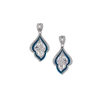 S/sil Sky Blue Enamel CZ Post Earrings