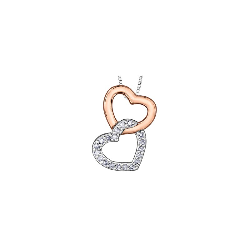 Corona 10K Two-Tone Rose/White Gold Hearts Intertwined Diamond Necklace