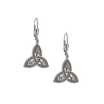 S/sil + 10k CZ Trinity Leverback Earrings