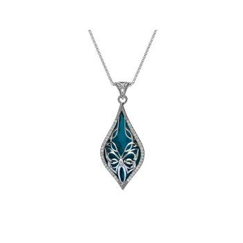S/sil Sky Blue Enamel White CZ Cocooned Butterfly Pendant Necklace