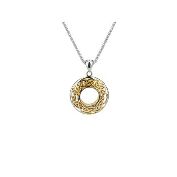 S/sil + 22k Gilded Window to the Soul Small Round Pendant Necklace