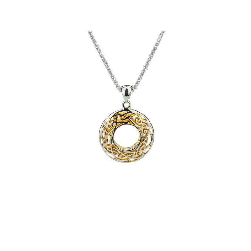 Keith Jack S/sil + 22k Gilded Window to the Soul Small Round Pendant Necklace