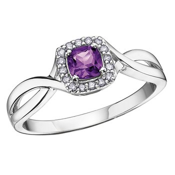 Birthstone & Diamond Ladies Ring