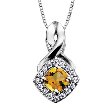 Birthstone & Diamond Pendant