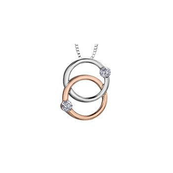 10K Two-Tone Rose/White Gold Intertwined Diamond Necklace