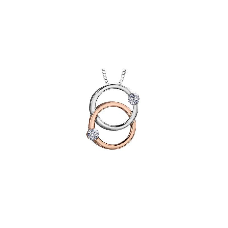 Corona 10K Two-Tone Rose/White Gold Intertwined Diamond Necklace