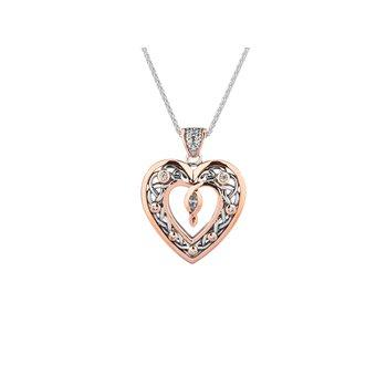 S/sil + 10k Rose Gold Celtic Heart Necklace Necklace