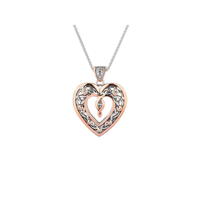 Keith Jack S/sil + 10k Rose Gold Celtic Heart Necklace Necklace