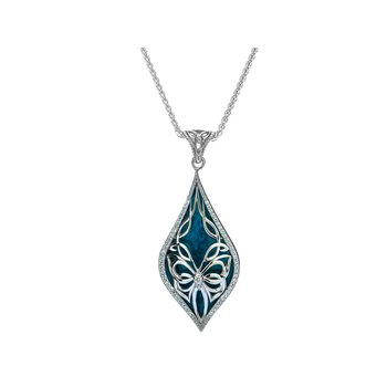 S/sil Sky Blue Enamel White CZ Cocooned Butterfly Small Pendant Necklace