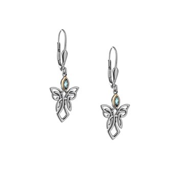 S/sil + 10k Sky Blue Topaz Guardian Angel Earrings