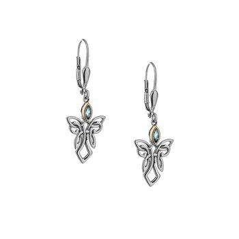S/sil + 10k Sky Blue Topaz Guardian Angel Earrings