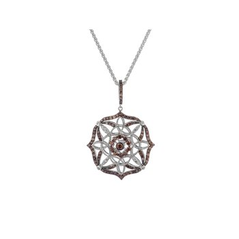 S/sil Rhodium + CZ Night & Day Collection Scalloped Pendant Necklace