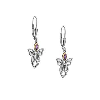S/sil + 10k Amethyst Guardian Angel Earrings
