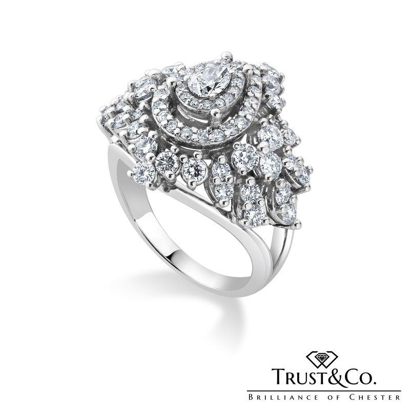 Trust Couture Multi Diamonds Cluster Ring