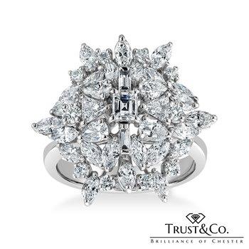 Multi Diamonds Cluster Ring