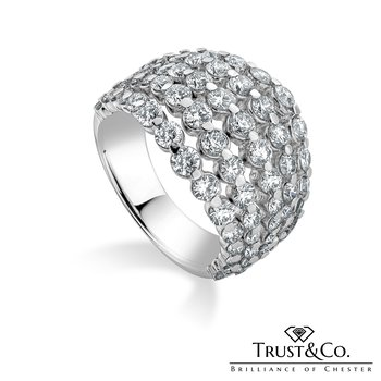 Five Rows Diamonds Ring