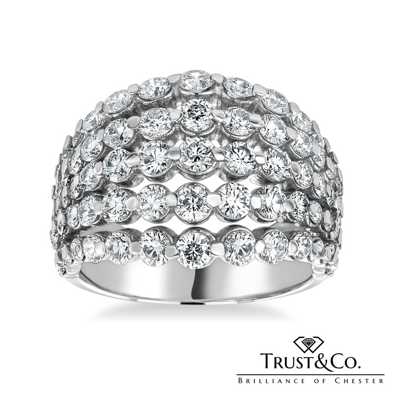 Trust Couture Five Rows Diamonds Ring