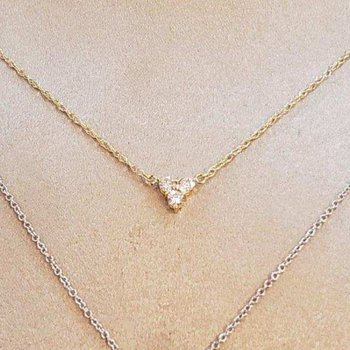 Gold triple diamond cluster necklace