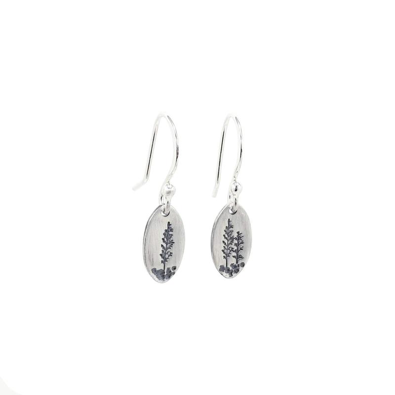 Saratoga Jewels Small Oval Landscape Dangle Earrings