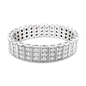 18K White Gold Three Row Diamond Bracelet