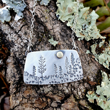 Rectangle Landscape Necklace