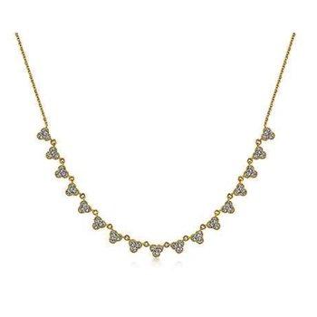 14 KARAT YELLOW GOLD SCALLOPED DIAMOND CHOKER NECKLACE