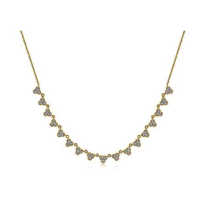Steals and Deals 14 KARAT YELLOW GOLD SCALLOPED DIAMOND CHOKER NECKLACE