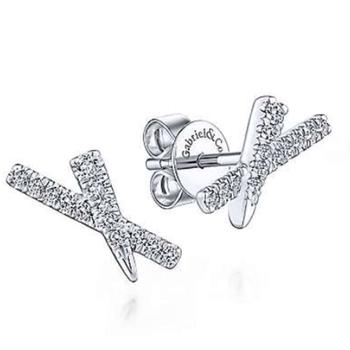 14 KARAT WHITE GOLD  X DIAMOND STUD EARRINGS