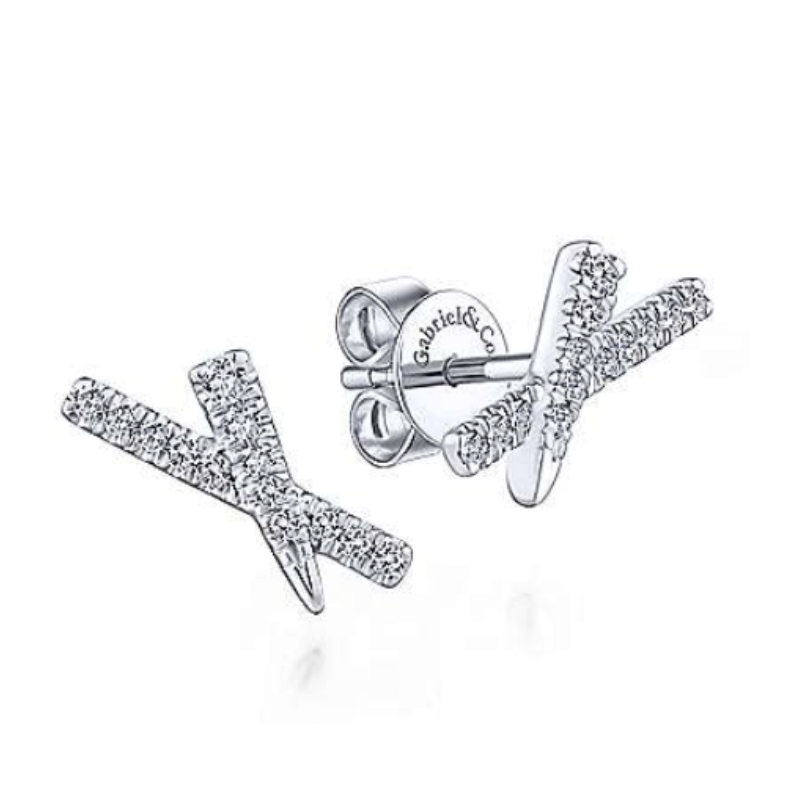 Steals and Deals 14 KARAT WHITE GOLD  X DIAMOND STUD EARRINGS