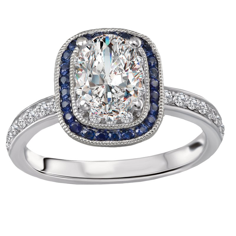 Sam's Signature Collection Halo Semi Mount Diamond and Gemstone Ring