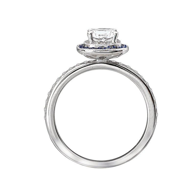 Sam's Signature Collection Halo Semi Mount Diamond and Gemstone Ring