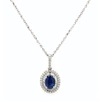 Sapphire & Diamond Pendant Necklace
