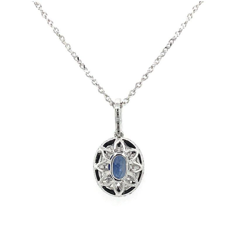 Quality Color Design Sapphire & Diamond Pendant Necklace