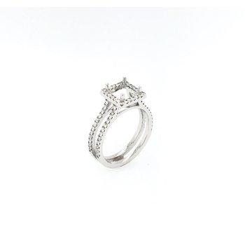 14k Square Halo Diamond Engagement Ring