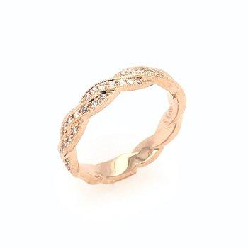 18k Rose Gold Diamond Ribbon Wedding Band